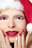 Nytt års manikyr och makeup Royaltyfria Foton