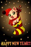 Nytt års piggy önska dig ett lyckligt och att komma med bra lycka för ferien stock illustrationer