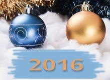 Nytt års prydnader 2016 Arkivbild