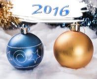 Nytt års prydnader 2016 Arkivfoton