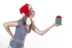 nytt aktuellt santa för gåvaflicka år arkivbilder