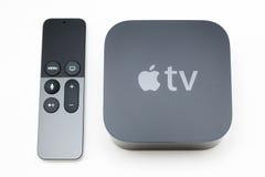 Nytt Apple TVmassmedia som strömmar spelaremicroconsole Fotografering för Bildbyråer