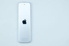 Nytt Apple TVmassmedia som strömmar spelaremicroconsole Arkivfoton