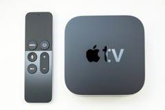 Nytt Apple TVmassmedia som strömmar spelaremicroconsole Arkivfoto