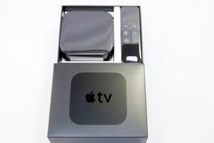 Nytt Apple TVmassmedia som strömmar spelaremicroconsole Arkivbild