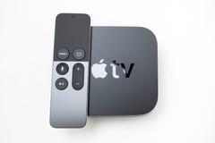 Nytt Apple TVmassmedia som strömmar spelaremicroconsole Arkivbilder