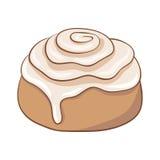 Nytt bakad kanelbrun rulle med söt glasyr på kaka Royaltyfri Bild
