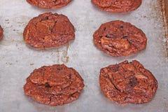 Nytt bakade hemlagade chokladkakor fortfarande på pannan Royaltyfri Bild