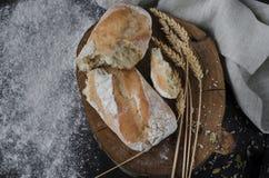 Nytt bakat hemlagat traditionellt bröd på den lantliga trätabellen royaltyfri fotografi