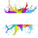 Nytt baner med färgrik färgstänkeffekt vektor illustrationer