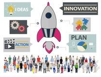 Nytt begrepp för idéer för teknologi för affärsinnovationstrategi Arkivbilder