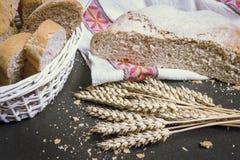 Nytt bröd med och vete på tabellslut upp Skivade stycken av bröd Brödsmulor och nytt bröd på tabellen Fotografering för Bildbyråer