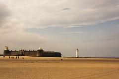 Nytt Brighton Perch Rock Lighthouse och fort royaltyfri fotografi