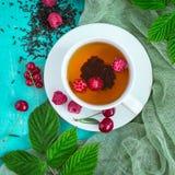 Nytt bryggat te med mogna bär för sommar royaltyfri fotografi
