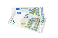 Nytt euro fem överst av gammalt euro fem Royaltyfria Bilder