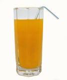 Nytt exponeringsglas av orange fruktsaft med tubulen Royaltyfri Foto