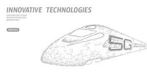 nytt för internetwifi för snabb stång 5G trådlöst begrepp Globalt snabbt högre järnväg drev Polygonal låg poly grå vit royaltyfri illustrationer