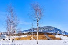 Nytt filharmoniskt samhälle och den öppna amfiteatern i Zaryadye parkerar arkivfoto