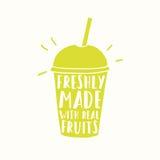 Nytt gjort med verkliga frukter Fruktsaft eller smoothie stock illustrationer
