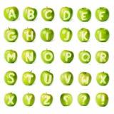 Nytt grönt äpplealfabet. Fotografering för Bildbyråer