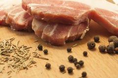 Nytt griskött med kryddor Fotografering för Bildbyråer