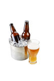 Nytt hällt öl på vit bakgrund Royaltyfri Foto