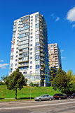 Nytt hus för Vilnius stadsFabijoniskes område Arkivfoton