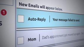 Nytt Inbox för generisk Email meddelande - det auto svarsmeddelandet missade för att överföra arkivfilmer