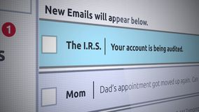 Nytt Inbox för generisk Email meddelande - IRS som reviderar ett bankkonto vektor illustrationer