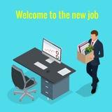 Nytt jobbbegrepp Arbetare och underordnader för kontor för vektor 3D för folk isometriska Man att gå till det nya jobbet med aske royaltyfri illustrationer
