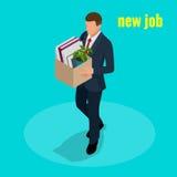 Nytt jobbbegrepp Arbetare och underordnader för kontor för vektor 3D för folk isometriska Man att gå till det nya jobbet med aske stock illustrationer