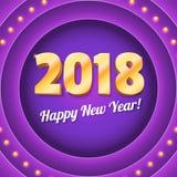 Nytt kommande baner 2018 på retro violett rund bakgrund med ljusa kulor Volymetrisk gul text med glödande ljus Royaltyfri Fotografi