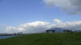 Nytt landskap för väg för cykel för flodstrand för ` s för Taipei stadsfolk, Taiwa Royaltyfria Bilder