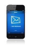Nytt meddelande på den mobila telefonen Arkivbild