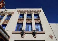 Nytt - Mexiko/Albuquerque: Arkitektur - detalj av en Art Deco Building Royaltyfria Bilder
