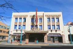 Nytt - Mexiko/Albuquerque: Art Deco Building - KiMo Theater Royaltyfri Bild