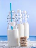 Nytt mjölka i flaskor royaltyfria bilder