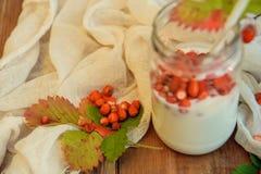 Nytt mjölka yoghurt med lösa jordgubbar och granola som tjänas som i en glass krus med mintkaramellsidor på den vita trätabellen  royaltyfri fotografi