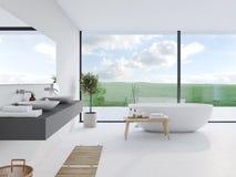 Nytt modernt badrum med en trevlig sikt framförande 3d vektor illustrationer