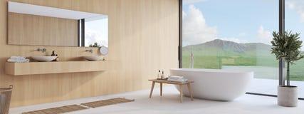 Nytt modernt badrum med en trevlig sikt framförande 3d royaltyfria bilder