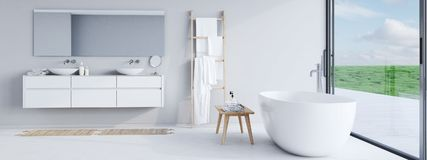Nytt modernt badrum med en trevlig sikt framförande 3d arkivbilder