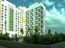 Nytt modernt låghus- bostads- komplex Arkivfoto