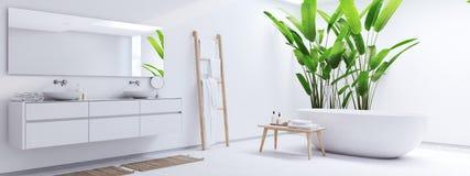 Nytt modernt zenbadrum med vändkretsväxter framförande 3d arkivbilder