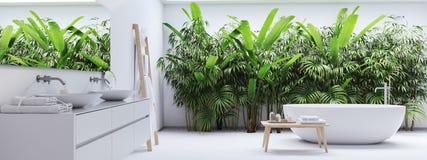 Nytt modernt zenbadrum med vändkretsväxter framförande 3d royaltyfri bild