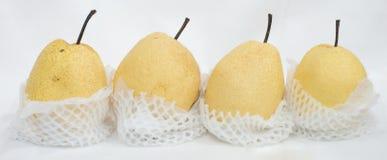 Nytt och saftigt kinesiskt päron på isoleringsbakgrund Arkivbild