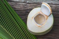 Nytt organiskt kokosnötvatten med kokosnötsidor på trätabellen royaltyfria foton