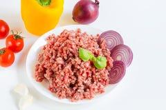 Nytt rått finhackat nötkött i ett vitt plattaslut upp med peppar, löken och tomater, rå ingredienser arkivfoto