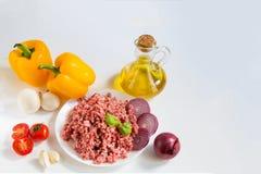 Nytt rått finhackat nötkött i ett vitt plattaslut upp med peppar, löken och tomater, rå ingredienser för välfyllda peppar royaltyfri foto