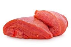 Nytt rått kött som isoleras på vit bakgrund Arkivbilder