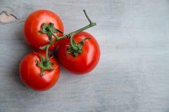 Nytt rött - läckra tomater på en gammal trätabletop Royaltyfria Bilder